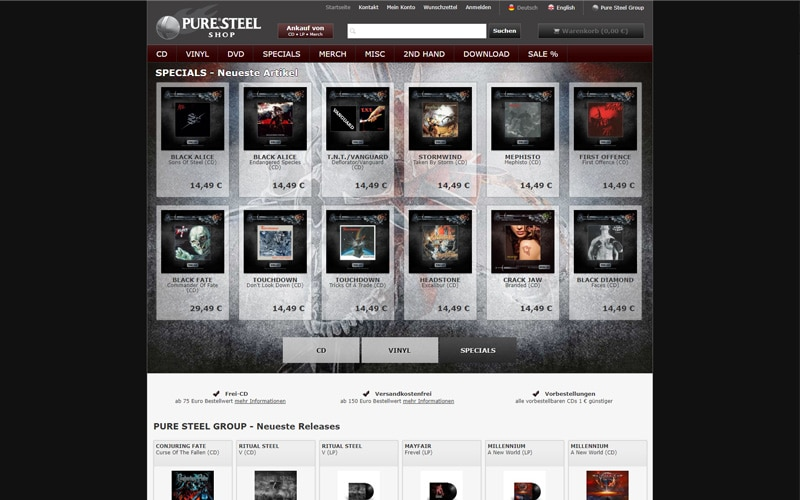 puresteel-shop.com Screenshot